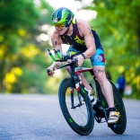 Tallahassee triathlete Michael Stripling finishes the bike leg of the 2016 Red Hills Triathlon