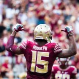 Travis Rudolph celebrates during a 2016 game