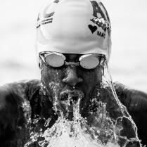 Carl A. Moore, Jr. swims breastroke at an invitational meet in Panama City Beach, 2016