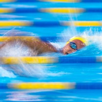 Meg Howell swims the 500 at an invitational swim meet in Panama City Beach, Fl, 2016
