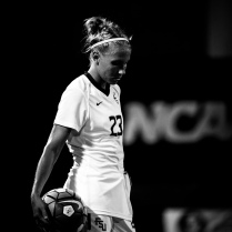 Emma Koivisto pauses before a throw-in during a 2016 match
