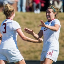 I love this shot, because even though Connolly (#3) scored the goal, and you can't see her face, just LOOK AT HOW EXCITED her teammate is for her, and look at the UofL player on the left side of the frame...