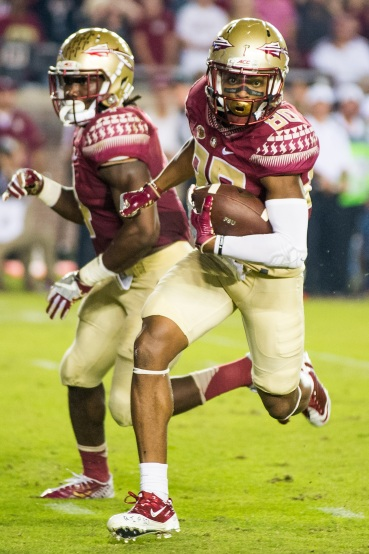 Nyqwan Murray makes a carry for significant gain against the Clemson Tigers, in Doak Campbell Stadium—10/29/16