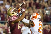 FSU wide receiver Travis Rudolph (#15) attempts to catch a pass during FSU's 2016 loss to Clemson