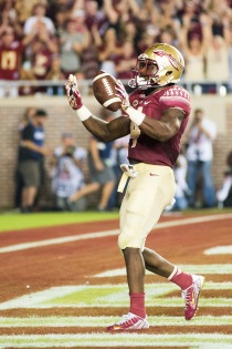 FSU used this image for their post-game article, as he celebrates a touchdown