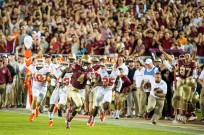 Dalvin Cooks outruns three Clemson defenders, to score one of his four touchdowns that evening, during the 2016 FSU loss to Clemson (37-34)